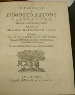"""Title page of """"Discorsi e Dimostrazioni Mathematiche"""" in 1638"""