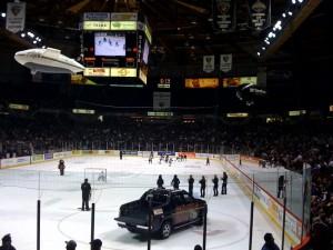 mini-hockey, blimps and cheerleaders