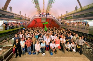 The ALICE detector, and some of the ALICE members! (It's not small!)
