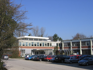 DESY's building 1 in the bright morning sub in April, a noteworthy and rare event.