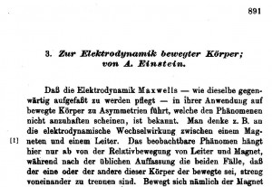 The first part of the paper on the theory of special relativity by Einstein, Annalen der Physik, 17(1905)