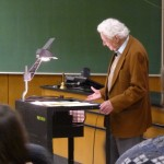 Nobel Laureate Leon Lederman giving a Heilborn Lecture at Northwestern University this week.