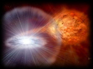 Artists impression of a Classical Nova, where a compact White Dwarf star receives transferred hydrogen-rich material from a less-evolved orbiting companion which has expanded into its Red Giant phase. The material provides fuel and the conditions necessary to initiate a thermonuclear explosion on the White Dwarf surface, leading to the synthesis of some heavier types of nuclei and the ejection of material into space.