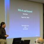 "The speaker, Patrick Huber, just before beginning his Extreme Beam Lecture on ""NOvA and Beyond""."