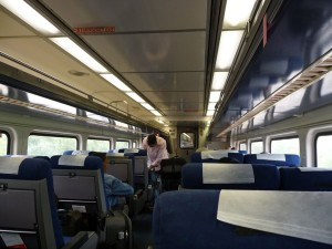 Amtrak train car en route to St. Louis