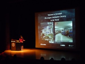 Marcela Carena welcoming the audience to the largest antimatter factory in the world!