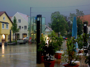 A thunderstorm, seen from the relative safety of the subway stop in Garching.