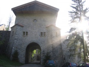 The castle front gate in the morning sun.