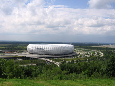 The view from the top: The Allianz Arena, Munichs soccer stadium.