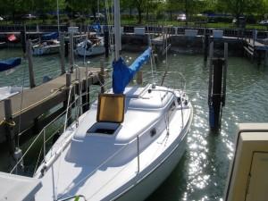 Hyperbole safely moored in Waukeegan Harbor, halfway between Racine, WI and Chicago, IL.