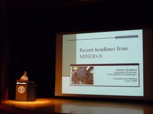 Post doc Bob Bradford from MINERvA giving the status report for our experiment at the Fermilab Users' Meeting
