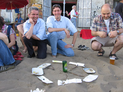 Proud detector builders: Felix, Ivo, and myself... I suspect a real ILC detector might be a tiny bit more complicated.