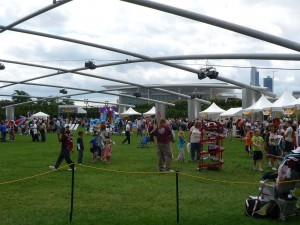 Kids roaming the grounds at Millennium Park LabFest.