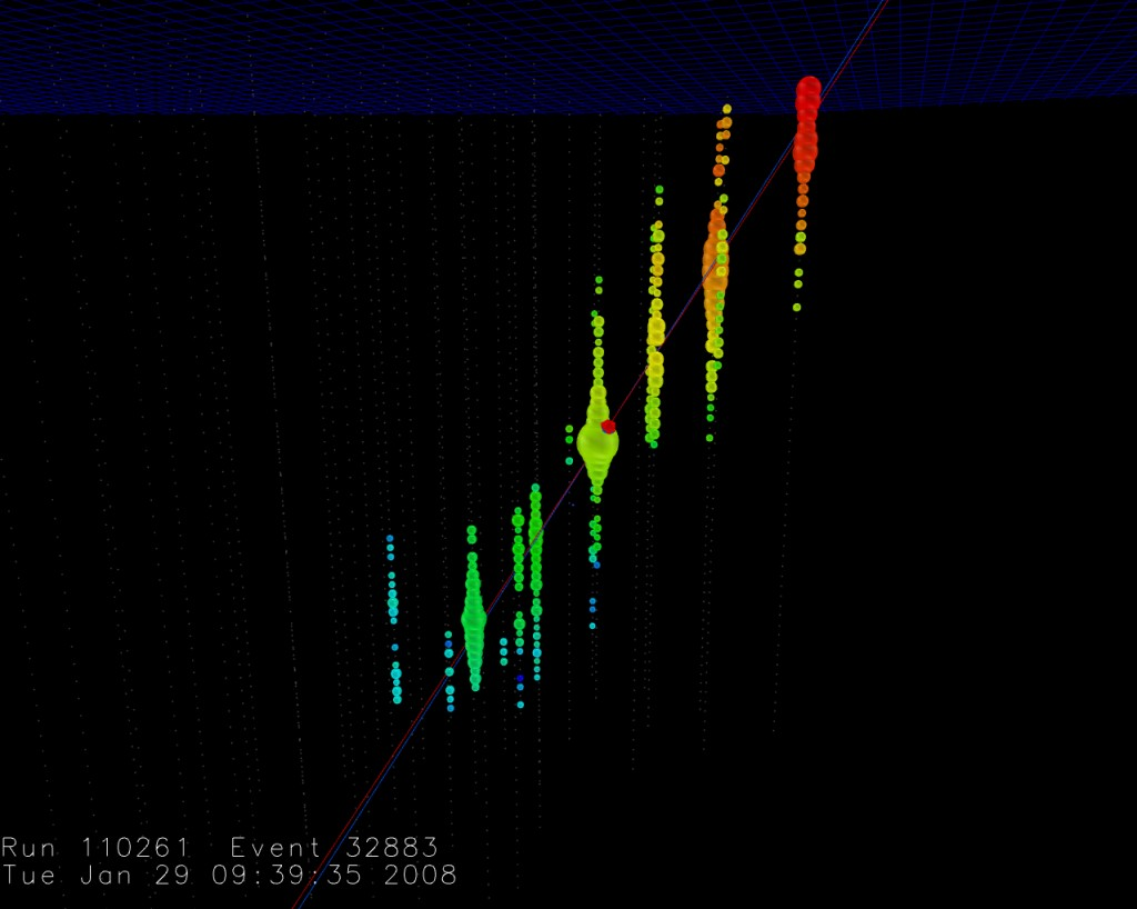 After its production in a neutrino interaction, an energetic muon goes through the IceCube detector. Colors indicate the time in which each DOM was triggered, increasing from red to blue. The size of each DOM is proportional to the amount of light detected at that point along the track.