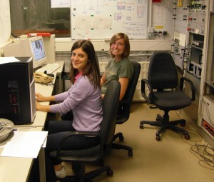 Silvia and Jeanette taking data