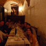 A group at dinner in the city center of Perugia.