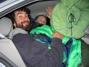 Vadim and I returning from a rock climbing trip with too much gear and not enough room in the car
