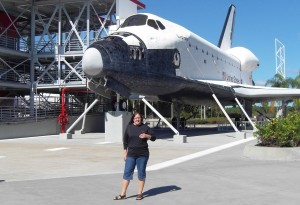 Me in front of a space shuttle ....