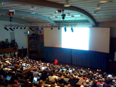 Standing room only in the CERN Main Auditorium for the LHC Reports, as Fabiola Gianotti, the ATLAS Spokesperson, gives her report.