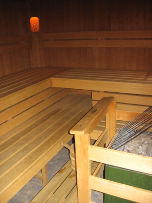 The tool to soothe sore muscles: The sauna in our hotel in the ski resort.