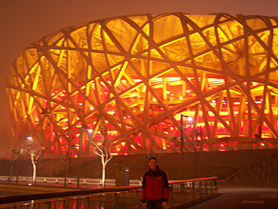 Me in front of the Bird's Nest, the stadium from the 2008 Olympics, last night. Thanks to Daniela for the picture!