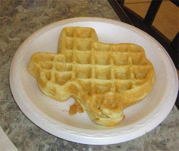Wafles in the shape of Texas... Things are different here!