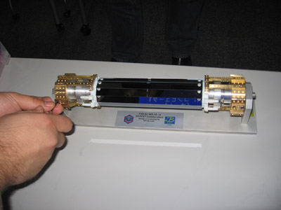 The mechanical model of the Belle-II pixel vertex detector, PXD: A bit larger than a soda can. The silicon part (the black modules in the center) would fit in a Red Bull can.