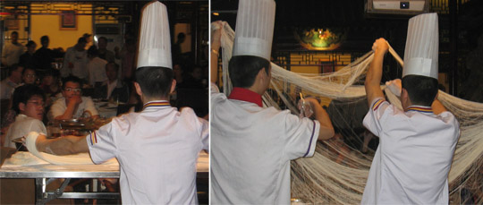 A noodle making demonstration in a fancy restaurant in the center of Beijing. Even Italians were impressed...