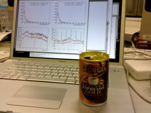 Staying focused after 14 hours of work: Fast offline data analysis, fueld by espresse in a can.
