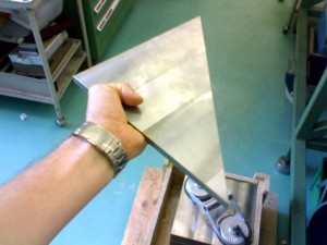 A Tungsten plate for our test beam in the fall: Heavy lifting!
