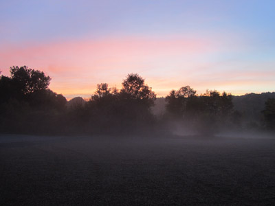 Fall is in the air in western Massachusetts in the early morning.