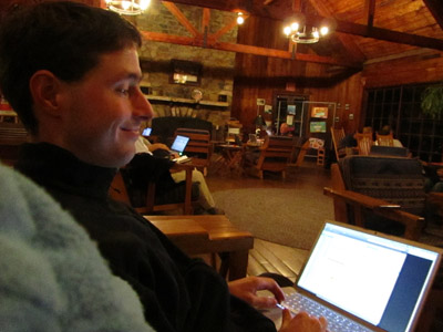 Email addicts in Big Meadows Lodge in Shenandoah National Park.