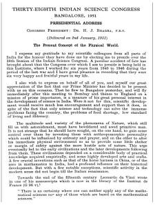Text of Bhabha speech in 1951