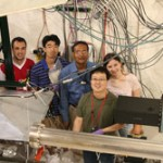 From left: Ben Freemire, Katsuya Yonehara, Mukti Jana, Moses Chung and Giulia Collura standing behind the HPRF cavity (under the hood) and beam pipe section. Photo: Yagmur Torun, R&D