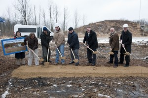 From left: Fermilab Deputy Director Young-Kee Kim; Gina Rameika, PPD; Kevin Bomstad and Jason Whittaker, Whittaker Construction and Excavation; Dixon Bogert, Fermilab; Mike Weis, DOE; Fermilab Director Pier Oddone; Erik Gottschalk, PPD. Photo: Reidar Hahn