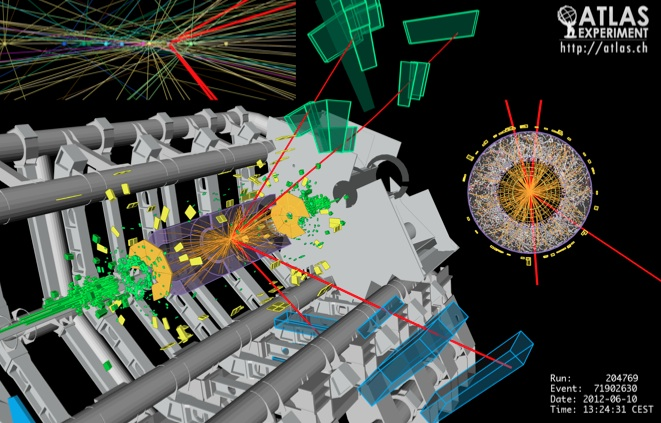 "A typical Higgs boson candidate in the ""golden mode"" (ATLAS Collaboration)"