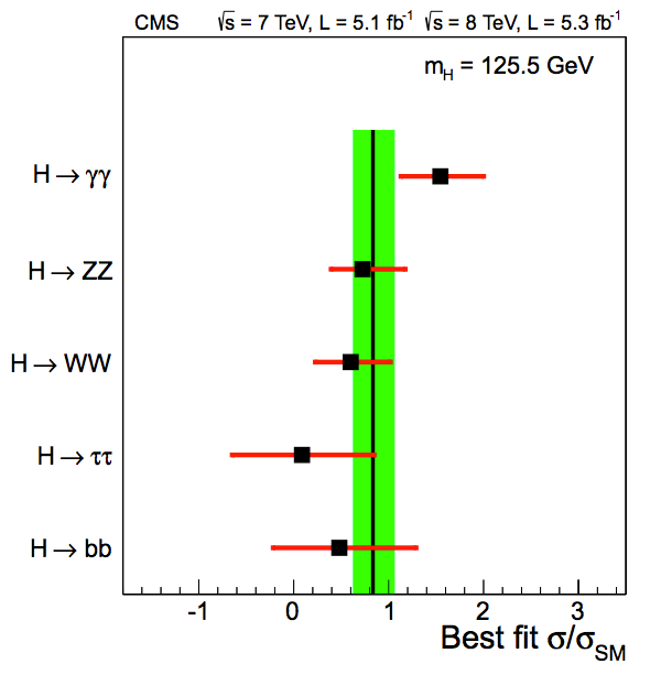 Evidence of tension between the γγ and fermionic final states (CMS)