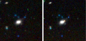 Images from the Dark Energy Camera before (left) and after (right) a supernova explosion in a galaxy about 2 billion light-years away.