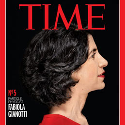 Fabiola Gianotti appears on the cover of Time magazine.