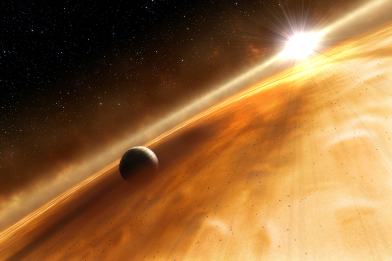 An artist's impression of an exoplanet.