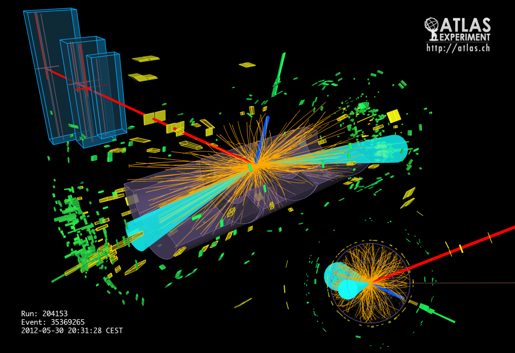 Event display of a candidate Higgs boson decaying into a tau lepton and anti-tau lepton in the CMS detector.