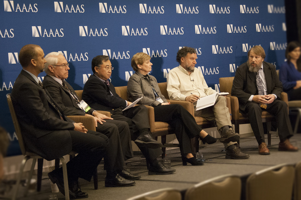 Participants in a symposium and press briefing exploring the latest advances and challenges in particle therapy for cancer at the 2014 AAAS meeting: Eric Colby (U.S. Department of Energy), Jim Deye (National Cancer Institute), Hak Choy (University of Texas Southwestern Medical Center), Kathryn Held (Harvard Medical School and Massachusetts General Hospital), Stephen Peggs (Brookhaven National Laboratory and Stony Brook University), and Ken Peach (Oxford University). (Credit: AAAS)