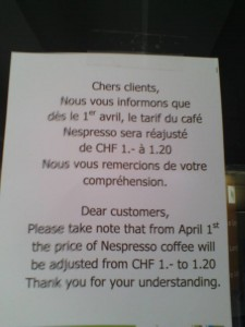 The coffee will be more expensive as of April 1st (note a joke), thanks to Alex Brown for pointing this out.