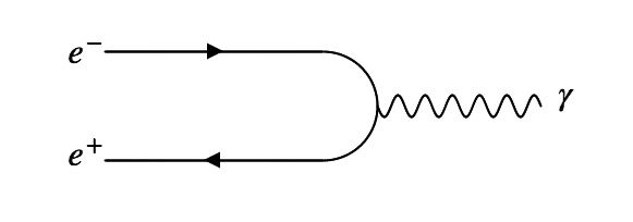 An electron and positron annihilate