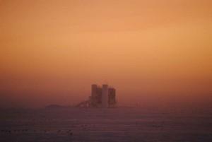 Sunrise over the IceCube laboritory