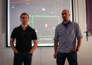 The DES13S2cmm superluminous supernova was discovered by Andreas Papadopoulos (right), a graduate student at the University of Portsmouth and lead author on a forthcoming paper about the supernova. Chris D'Andrea (left) is a postdoctoral researcher at Portsmouth and leads the DES supernova spectroscopic follow-up program. Photo courtesy of Andreas Papadopoulos