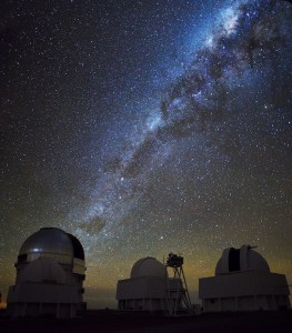 The Milky Way rises over the Cerro Tololo Inter-American Observatory in northern Chile. The Dark Energy Survey operates from the largest telescope at the observatory, the 4-meter Victor M. Blanco Telescope (left). Photo courtesy of Andreas Papadopoulos
