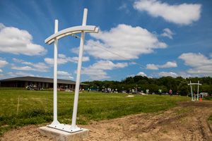 Pi poles are part of a new exhibit for kids at Fermilab's Lederman Science Center, an educational center that houses resources for K-12 teachers and hosts science activities for students. Photo: Cindy Arnold