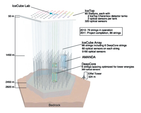 """Icecube-architecture-diagram2009"" by Nasa-verve - IceCube Science Team - Francis Halzen, Department of Physics, University of Wisconsin. Licensed under Creative Commons Attribution 3.0 via Wikimedia Commons - https://commons.wikimedia.org/wiki/File:Icecube-architecture-diagram2009.PNG#mediaviewer/File:Icecube-architecture-diagram2009.PNG"