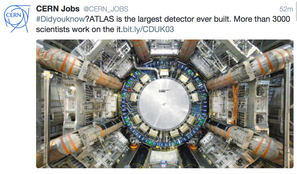 CERN_JOBS Tweet Largest Detector